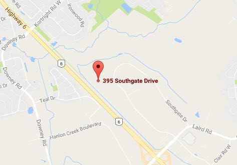 Map to Guelph Hydro at 395 Southgate Drive
